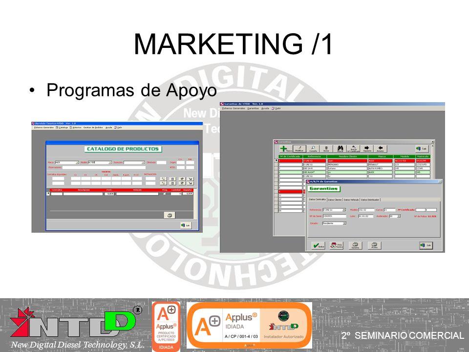 MARKETING /1 Programas de Apoyo I SEMINARIO COMERCIAL 2º SEMINARIO COMERCIAL New Digital Diesel Technology, S.L.