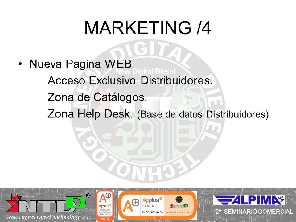 MARKETING /4 I SEMINARIO COMERCIAL Nueva Pagina WEB Acceso Exclusivo Distribuidores. Zona de Catálogos. Zona Help Desk. (Base de datos Distribuidores)