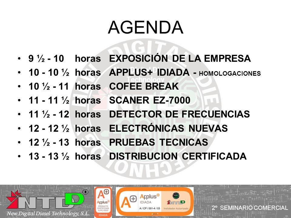 AGENDA 9 ½ - 10 horas EXPOSICIÓN DE LA EMPRESA 10 - 10 ½ horas APPLUS+ IDIADA - HOMOLOGACIONES 10 ½ - 11 horas COFEE BREAK 11 - 11 ½ horas SCANER EZ-7
