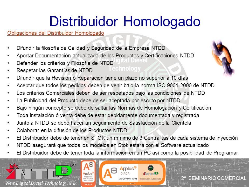 Distribuidor Homologado Obligaciones del Distribuidor Homologado Difundir la filosofía de Calidad y Seguridad de la Empresa NTDD Aportar Documentación