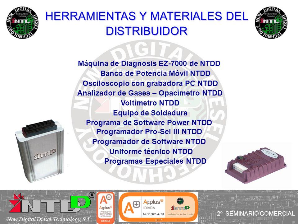 HERRAMIENTAS Y MATERIALES DEL DISTRIBUIDOR Máquina de Diagnosis EZ-7000 de NTDD Banco de Potencia Móvil NTDD Osciloscopio con grabadora PC NTDD Analiz