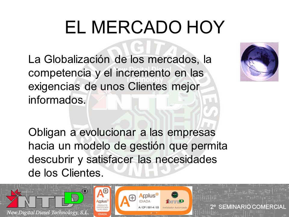 EL MERCADO HOY La Globalización de los mercados, la competencia y el incremento en las exigencias de unos Clientes mejor informados. Obligan a evoluci