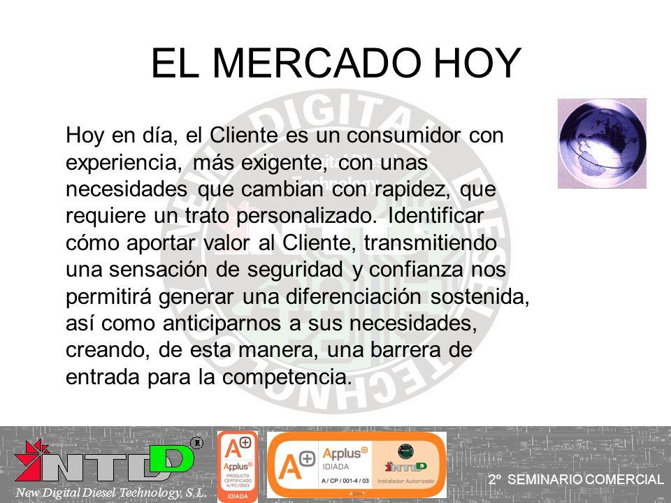 EL MERCADO HOY Hoy en día, el Cliente es un consumidor con experiencia, más exigente, con unas necesidades que cambian con rapidez, que requiere un tr