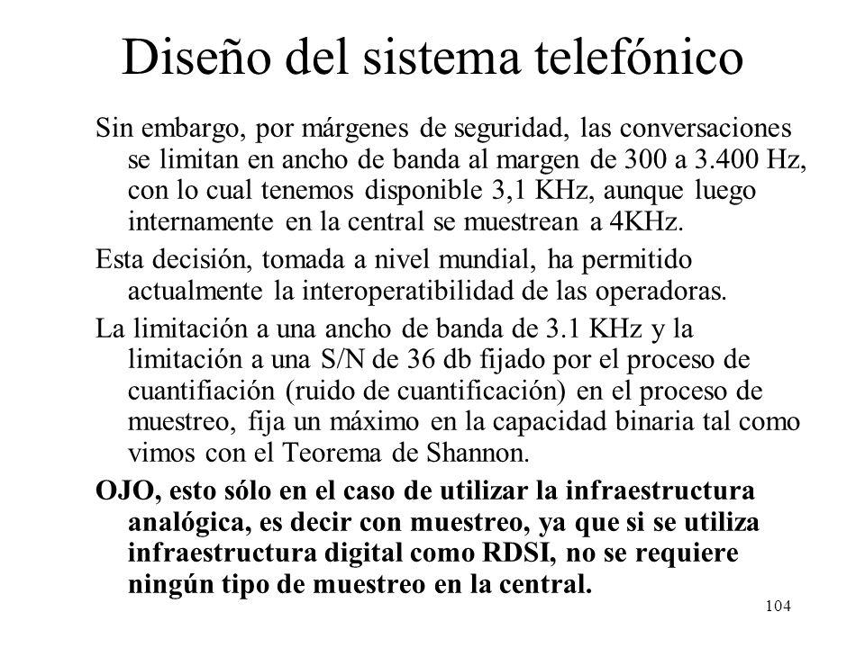 103 Estructura jerárquica del sistema telefónico 1 8 9 10 5 4 3 2 6 7 67 66 65 3 2 1 2301228229 1 2 3 1300 12991298123 12 3 4 5 200 millones de teléfo