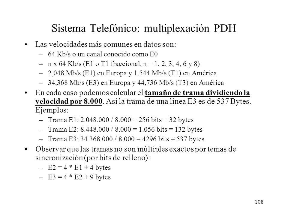 107 Sistema Telefónico: multiplexación TDM y PDH TDM: Time Division Multiplexing –30 canales de voz, 1 canal de señalización y 1 canal de sincronizaci