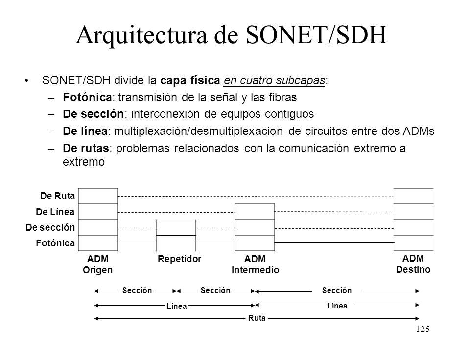 124 Sección: unión directa entre dos equipos cualesquiera Línea: unión entre dos ADMs contiguos Ruta: unión entre dos equipos finales (principio-fin d