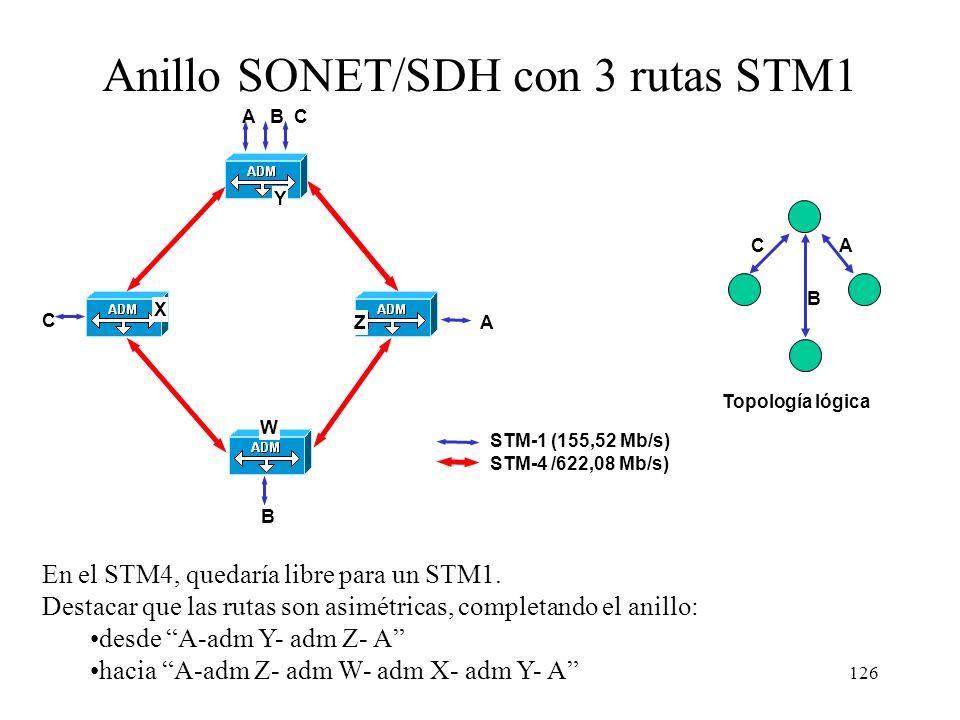 125 Arquitectura de SONET/SDH SONET/SDH divide la capa física en cuatro subcapas: –Fotónica: transmisión de la señal y las fibras –De sección: interco