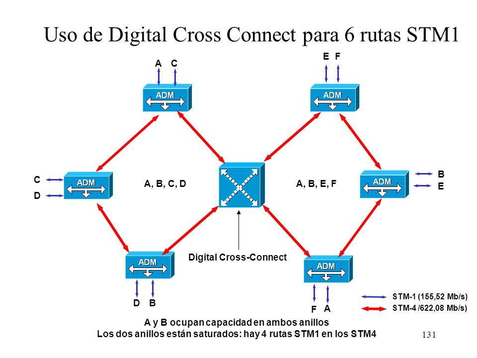 130 Detalle de la electrónica de un ADM STM-1 Rx Tx Anillo principal Rx Tx Anillo de respaldo Tarjeta STM-1 primaria Tarjeta STM-1 de reserva