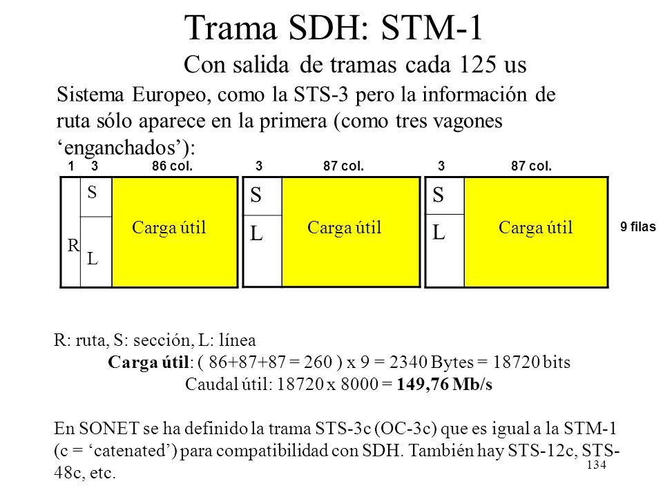 133 R S Carga útil L R S L Trama SONET: STS-3 (OC-3) Con salida de tramas cada 125 us R: ruta, S: sección, L: línea Tamaño: 90 x 9 x 3= 2430 Bytes = 1