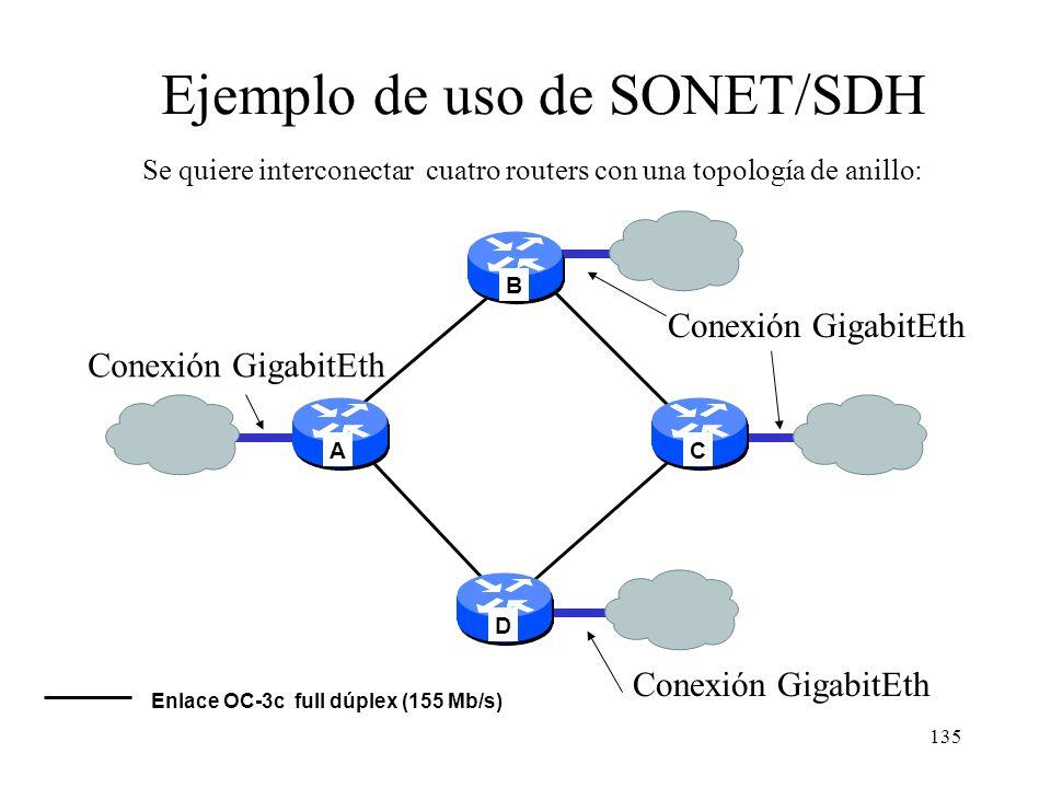 134 R S Carga útil L Trama SDH: STM-1 Con salida de tramas cada 125 us R: ruta, S: sección, L: línea Carga útil: ( 86+87+87 = 260 ) x 9 = 2340 Bytes =