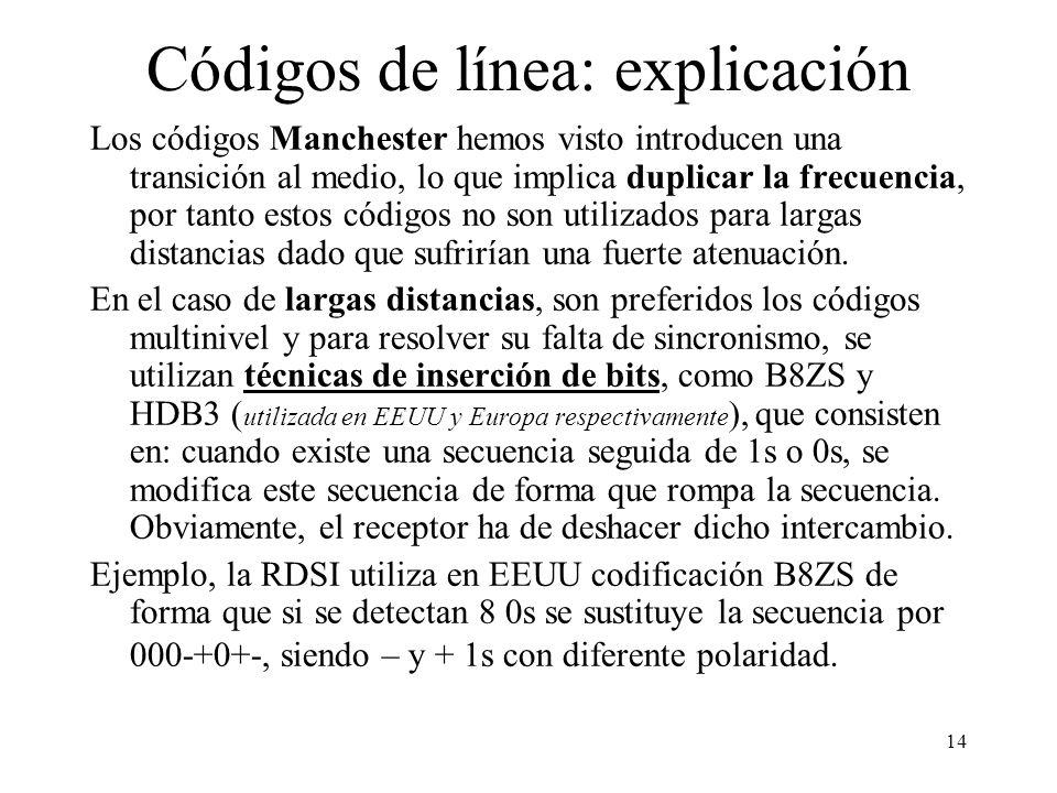 13 Códigos de línea: explicación Los problemas de los códigos de línea para transmisión son: la transmisión de contínua (lo cual tiene inconvenientes