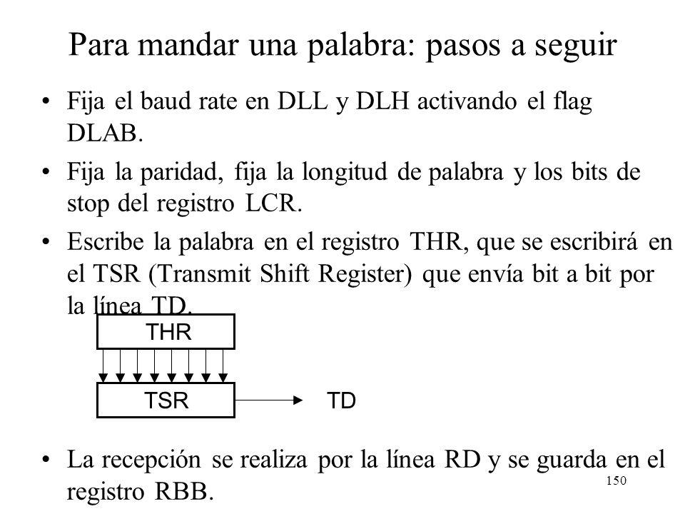 149 Dirección de los registros de configuración La arquitectura 80x86 de Intel, gestiona la entrada salida utilizando instrucciones especiales a puert