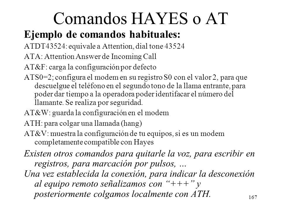 166 Comandos HAYES o AT La configuración de los modem se realiza de modo local y los comandos utilizados para configurarlos son heredados de un fabric