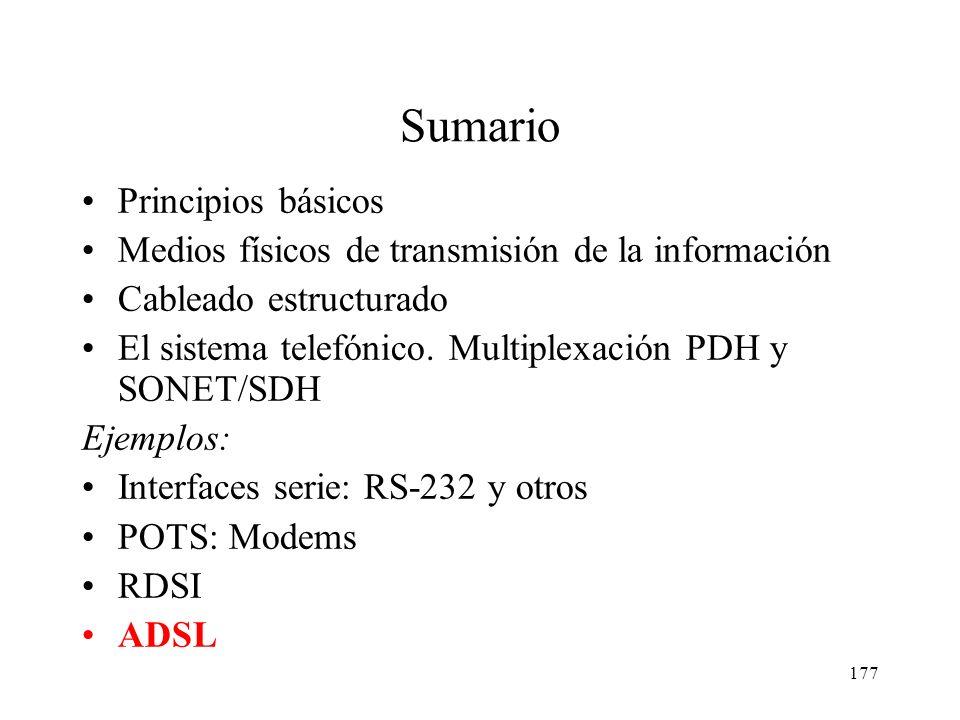 176 Tipos de switch RDSI BRI: basic rate interface PRI: primary rate interface Es necesario especificar el tipo de switch al que nos vamos a conectar.