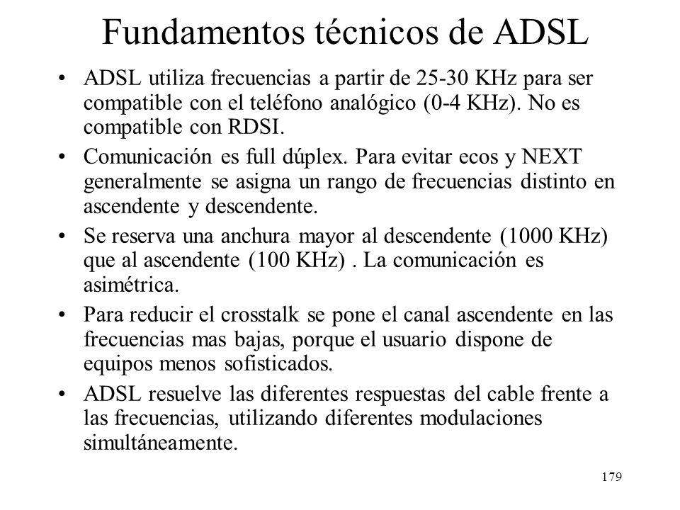 178 La limitación de los enlaces telefónicos (subida 33,6 y bajada 56 Kb/s) no se debe al cable de pares sino al canal de 3,3 KHz con el que operan la