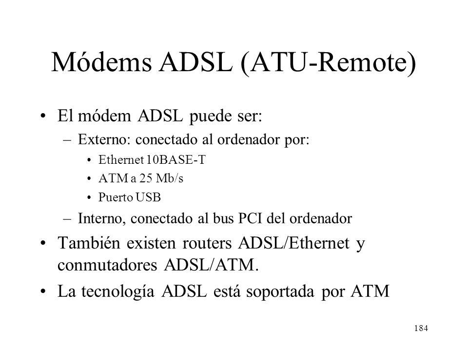 183 Internet Red telefónica DSLAM Conmutador ATM Conmutador telefónico Central telefónica ISP Usuario ADSL Usuario RTC (RTB o RDSI) Splitter Comparaci