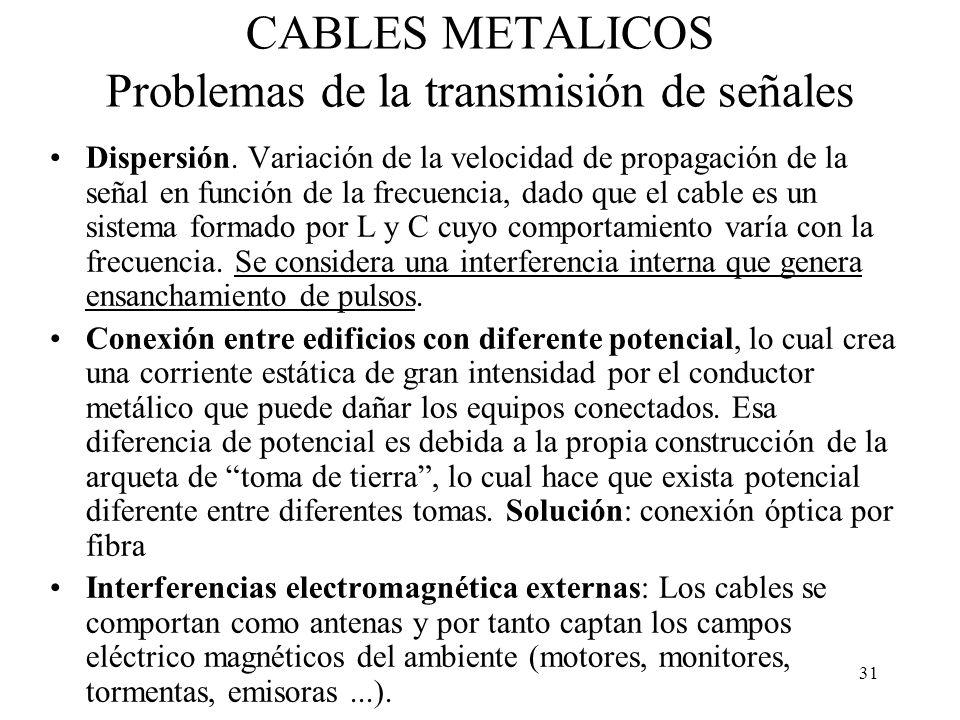 30 CABLES METALICOS Problemas de la transmisión de señales Atenuación –La señal se reduce con la distancia debido a: Calor (resistencia) Emisión elect