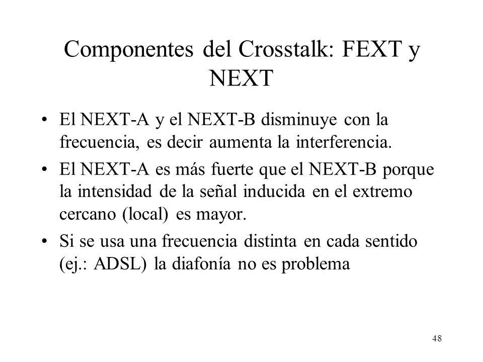 47 Cálculo de FEXT y NEXT NEXT (o NEXT–A en los Fluke DSP 2000 de prácticas): se transmite dos señales de referencia por par x e y y se mide en el par