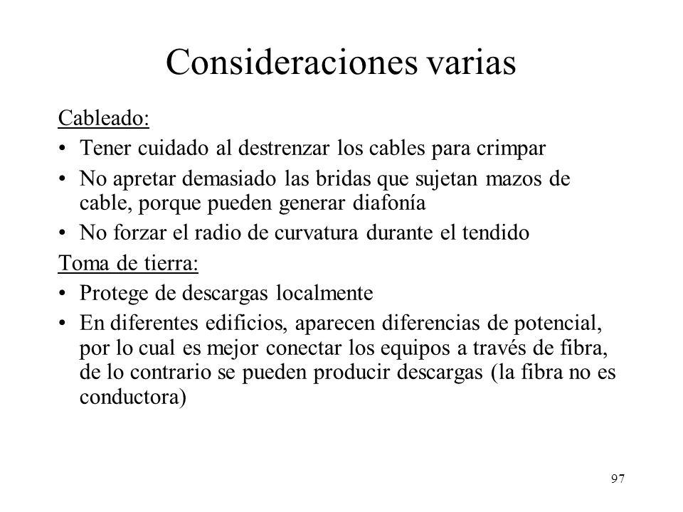 96 Documentación a generar Diario de ingeniería: compras, direcciones, fechas, eventos,... Topología lógica Topología física Plan de distribución: cóm