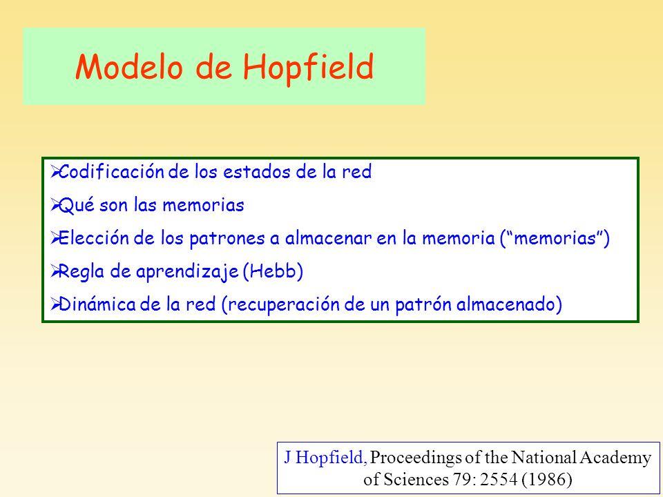 J Hopfield, Proceedings of the National Academy of Sciences 79: 2554 (1986) Modelo de Hopfield Codificación de los estados de la red Qué son las memorias Elección de los patrones a almacenar en la memoria (memorias) Regla de aprendizaje (Hebb) Dinámica de la red (recuperación de un patrón almacenado)