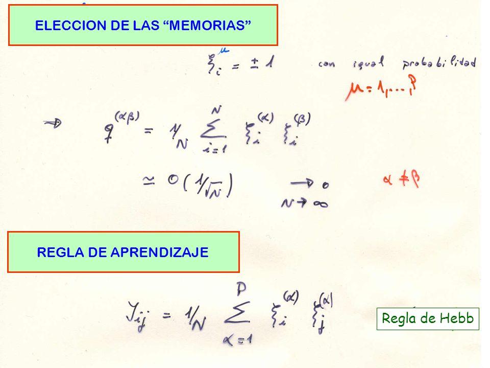 ELECCION DE LAS MEMORIAS REGLA DE APRENDIZAJE Regla de Hebb