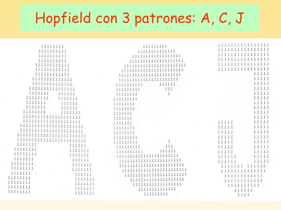Hopfield con 3 patrones: A, C, J