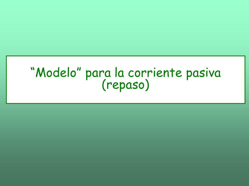 La corriente de pérdida (elementos pasivos): Potencial de reposo: Conductancia pasiva o de pérdida: La corriente pasiva total Puede escribirse: