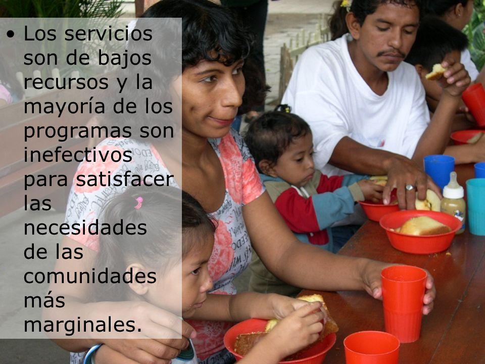 Los servicios son de bajos recursos y la mayoría de los programas son inefectivos para satisfacer las necesidades de las comunidades más marginales.