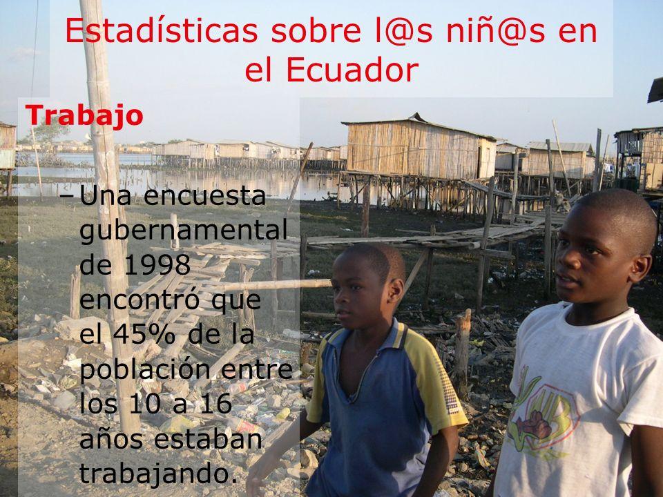 Estadísticas sobre l@s niñ@s en el Ecuador Trabajo –Una encuesta gubernamental de 1998 encontró que el 45% de la población entre los 10 a 16 años esta
