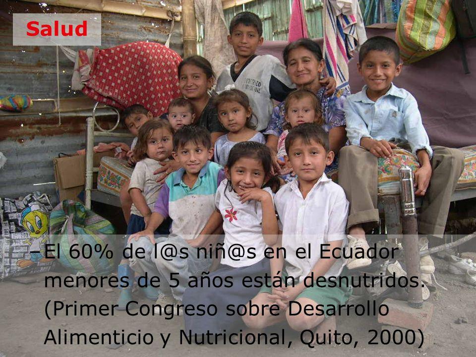 Salud –El 60% de l@s niñ@s en el Ecuador menores de 5 años están desnutridos. (Primer Congreso sobre Desarrollo Alimenticio y Nutricional, Quito, 2000