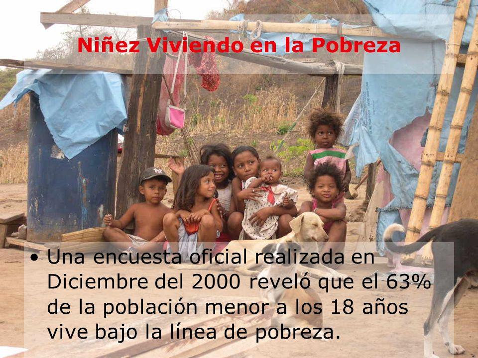 Niñez Viviendo en la Pobreza Una encuesta oficial realizada en Diciembre del 2000 reveló que el 63% de la población menor a los 18 años vive bajo la l