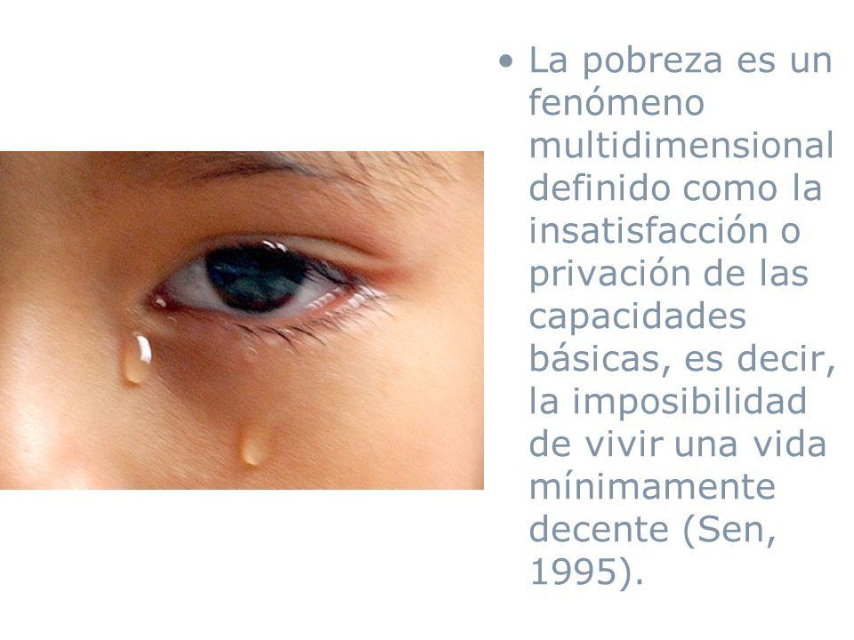 La pobreza es un fenómeno multidimensional definido como la insatisfacción o privación de las capacidades básicas, es decir, la imposibilidad de vivir