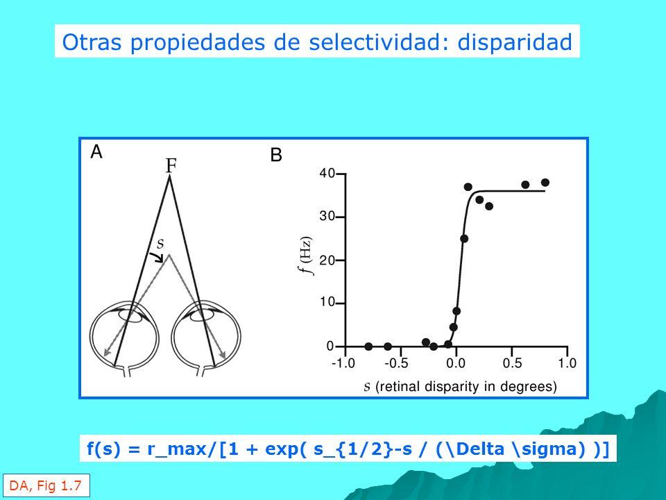 Otras propiedades de selectividad: disparidad f(s) = r_max/[1 + exp( s_{1/2}-s / (\Delta \sigma) )] DA, Fig 1.7