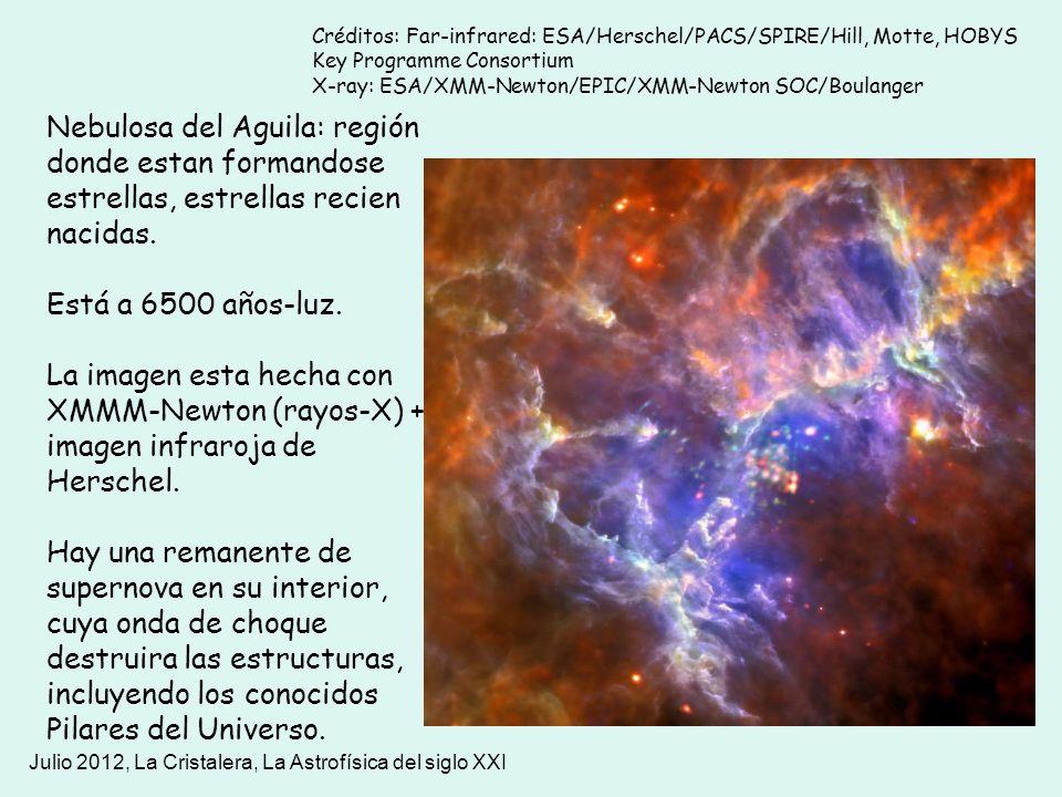 Julio 2012, La Cristalera, La Astrofísica del siglo XXI Nebulosa del Aguila: región donde estan formandose estrellas, estrellas recien nacidas. Está a