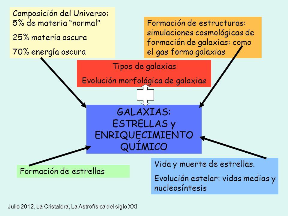 Julio 2012, La Cristalera, La Astrofísica del siglo XXI GALAXIAS: ESTRELLAS y ENRIQUECIMIENTO QUÍMICO Formación de estructuras: simulaciones cosmológi