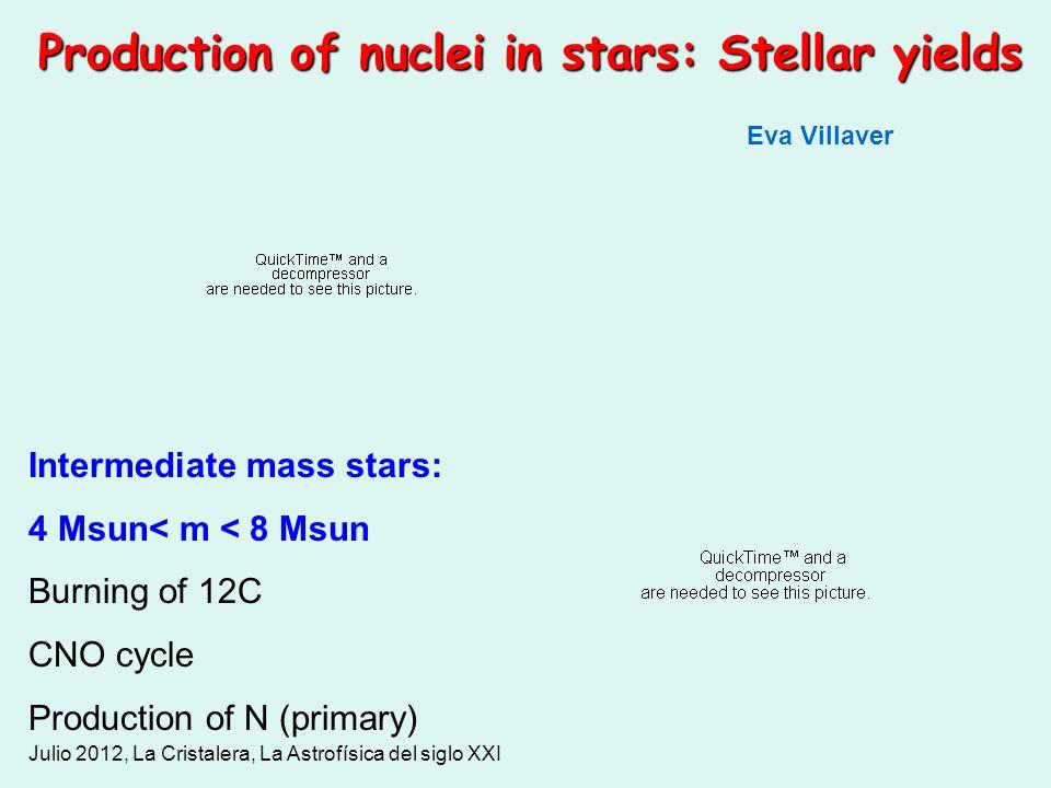Julio 2012, La Cristalera, La Astrofísica del siglo XXI Production of nuclei in stars: Stellar yields Intermediate mass stars: 4 Msun< m < 8 Msun Burn