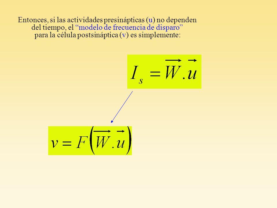 Entonces, si las actividades presinápticas (u) no dependen del tiempo, el modelo de frecuencia de disparo para la célula postsináptica (v) es simpleme