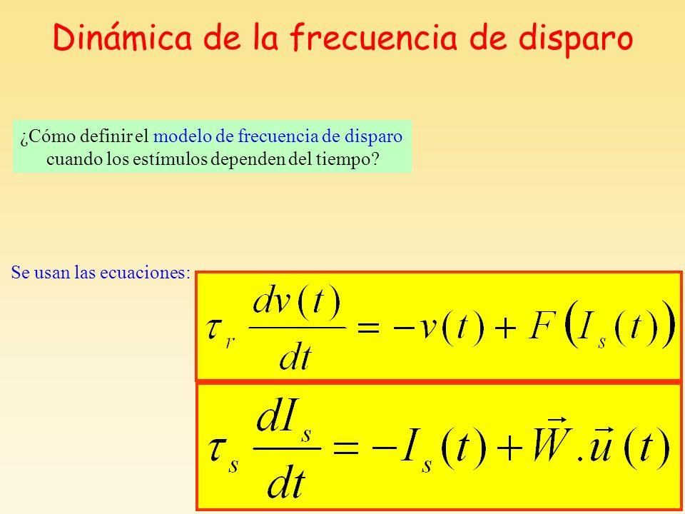 Dinámica de la frecuencia de disparo Se usan las ecuaciones: ¿Cómo definir el modelo de frecuencia de disparo cuando los estímulos dependen del tiempo