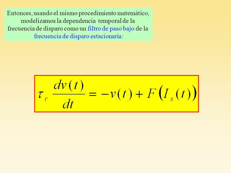 Entonces, usando el mismo procedimiento matemático, modelizamos la dependencia temporal de la frecuencia de disparo como un filtro de paso bajo de la