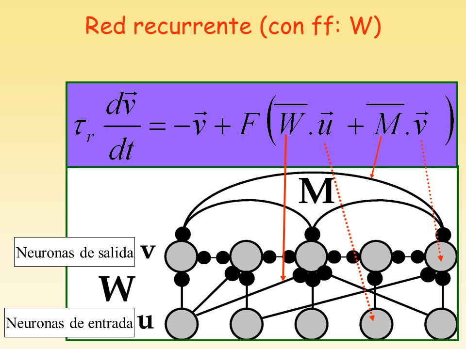 Red recurrente (con ff: W) Neuronas de salida Neuronas de entrada