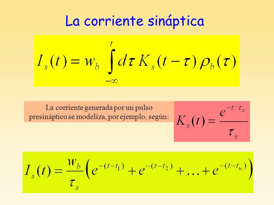 La corriente sináptica La corriente generada por un pulso presináptico se modeliza, por ejemplo, según: