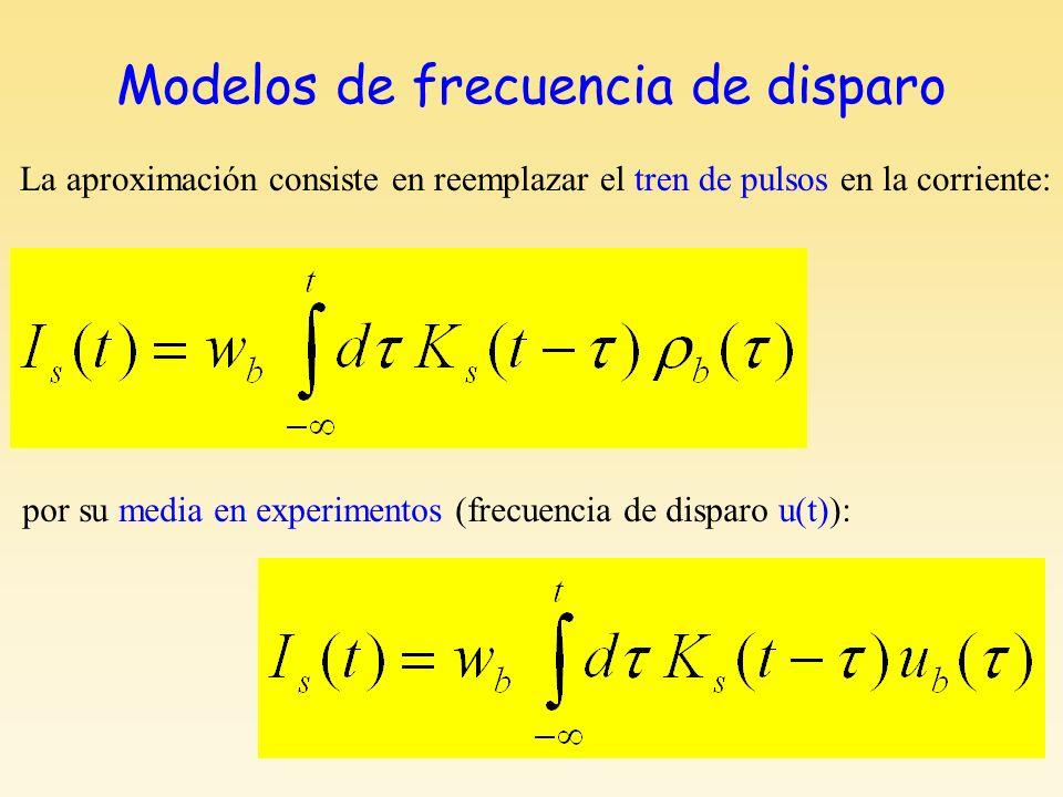 Modelos de frecuencia de disparo La aproximación consiste en reemplazar el tren de pulsos en la corriente: por su media en experimentos (frecuencia de