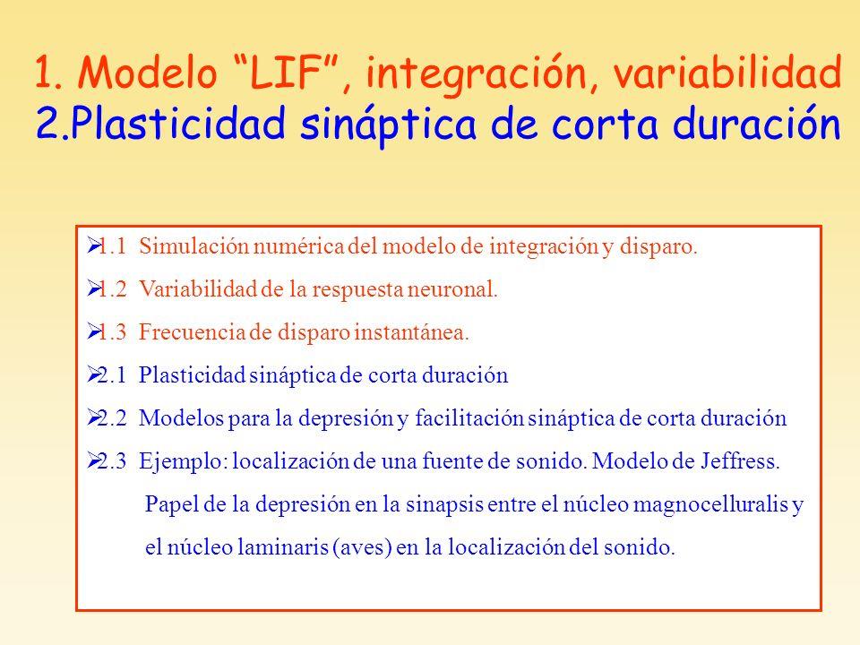 1.1 Simulación numérica del modelo de integración y disparo. 1.2 Variabilidad de la respuesta neuronal. 1.3 Frecuencia de disparo instantánea. 2.1 Pla