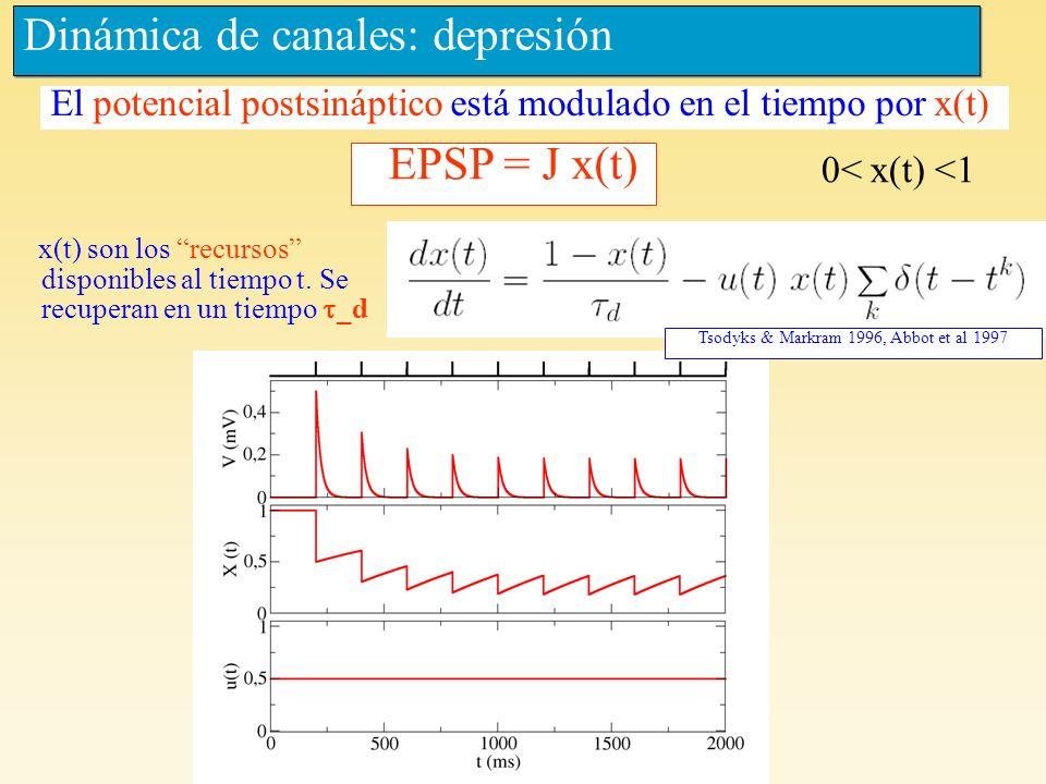 Dinámica de canales: depresión x(t) son los recursos disponibles al tiempo t. Se recuperan en un tiempo _d EPSP = J x(t) El potencial postsináptico es