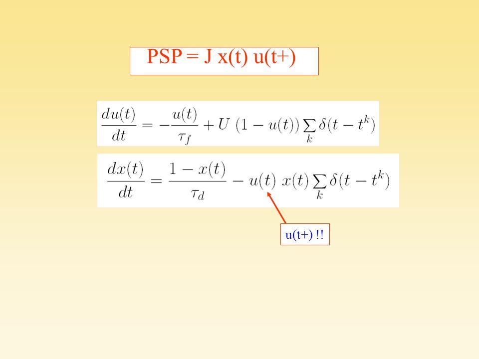 Listado de ecuaciones de STP u(t+) !! PSP = J x(t) u(t+)