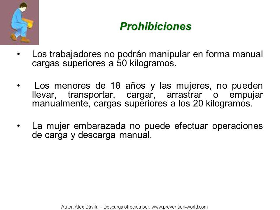 Autor: Alex Dávila – Descarga ofrecida por: www.prevention-world.com Prohibiciones Los trabajadores no podrán manipular en forma manual cargas superio