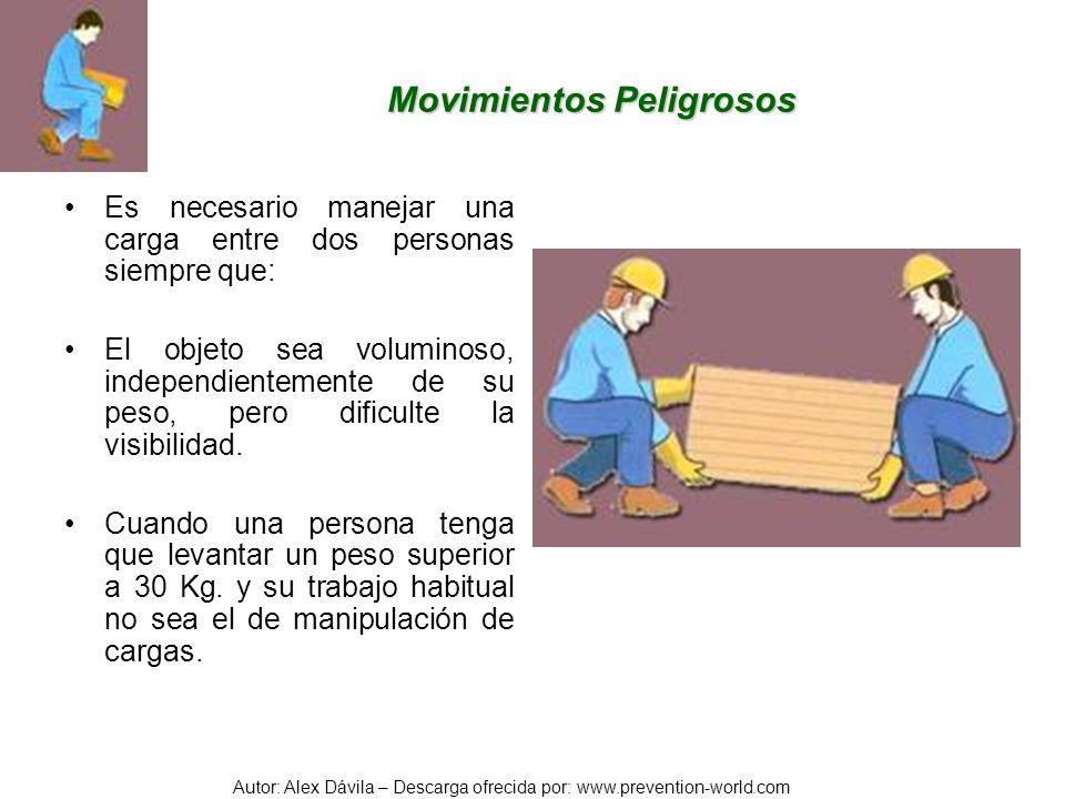 Autor: Alex Dávila – Descarga ofrecida por: www.prevention-world.com Movimientos Peligrosos Es necesario manejar una carga entre dos personas siempre