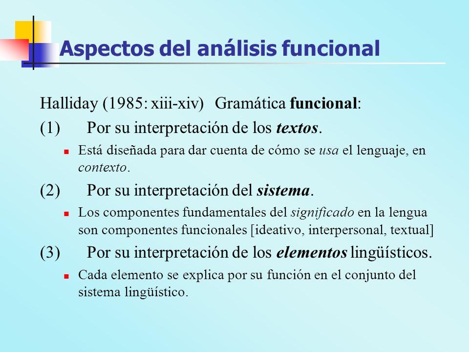 Aspectos del análisis funcional Halliday (1985: xiii-xiv) Gramática funcional: (1)Por su interpretación de los textos. Está diseñada para dar cuenta d