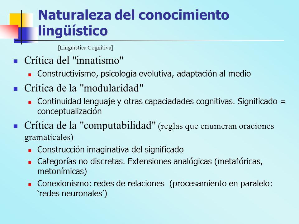 Naturaleza del conocimiento lingüístico [Lingüística Cognitiva] Crítica del innatismo Constructivismo, psicología evolutiva, adaptación al medio Crítica de la modularidad Continuidad lenguaje y otras capaciadades cognitivas.