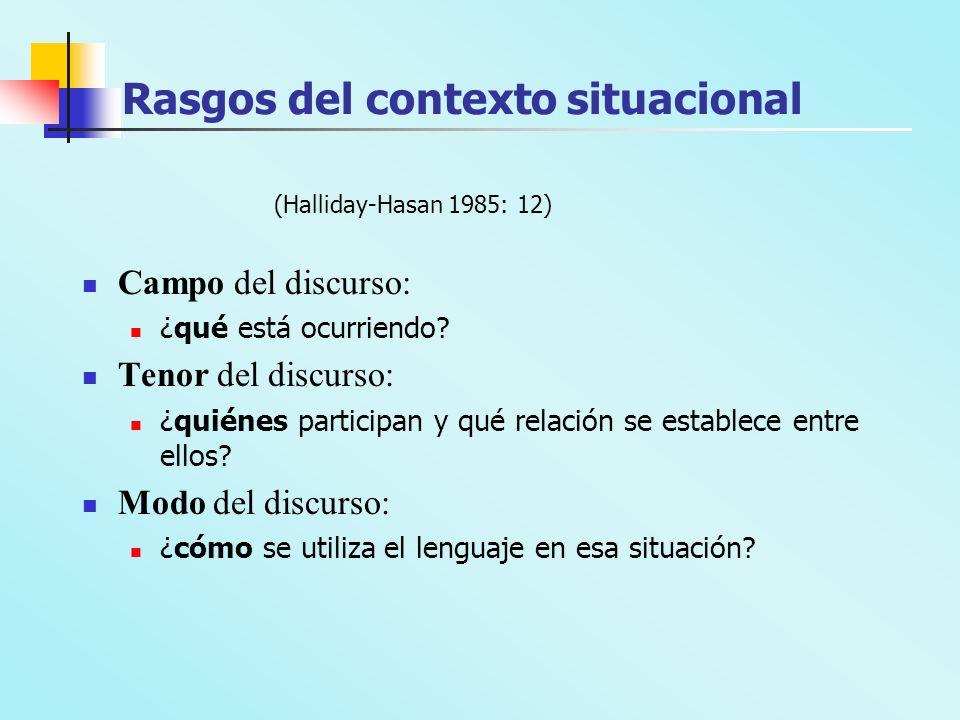 Rasgos del contexto situacional (Halliday-Hasan 1985: 12) Campo del discurso: ¿qué está ocurriendo? Tenor del discurso: ¿quiénes participan y qué rela